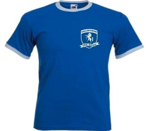 Sports Crazy unisex Gillingham Club FC The Gills Footbal Soccer Retro T Shirt Large Blue