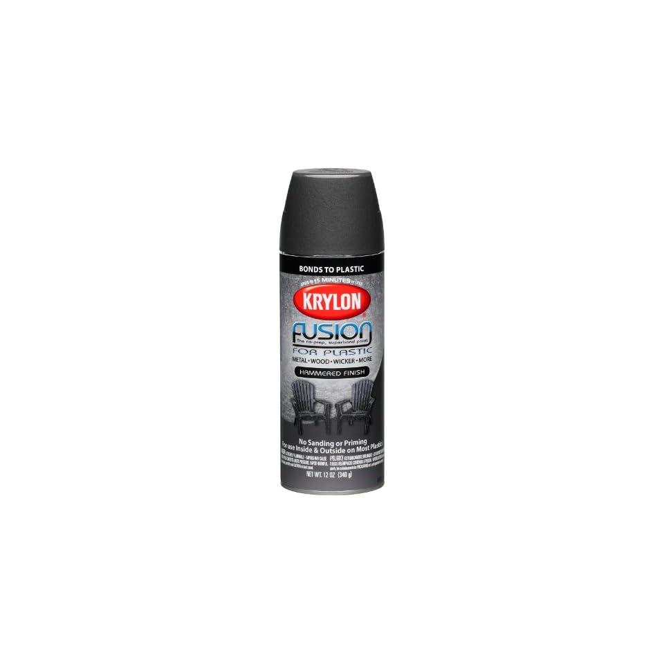 Krylon K02531000 Fusion For Plastic Hammered Finish Aerosol Spray Paint, 12 Ounce, Black Hammer