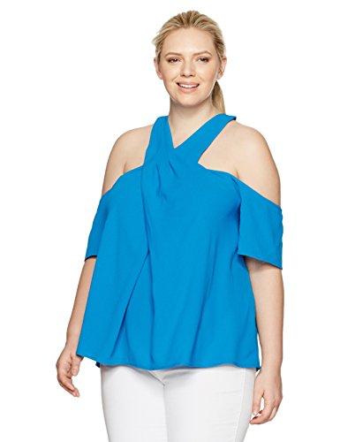 RACHEL Rachel Roy Women's Plus Size Halter Cold Shoulder Top, Peacock, 14W