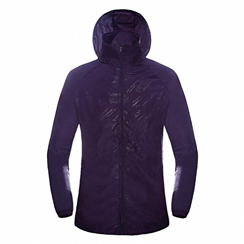 Maoko Sports Outdoor Running Windbreaker Jacket with Hood- Lightweight Sun UV Protection Purple - Abington Collection