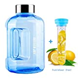 BOTTLED JOY Water Jug 75oz Water Bottle 2.2L Large Water Bottle Clear Water Bottle with 20pcs Ice Cubes and Fruit Infuser Wide Mouth BPA Free Sports