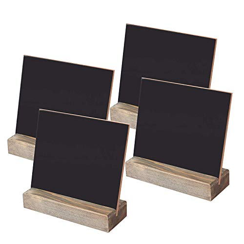 (Fasmov Tabletop Chalkboard Signs with Wood Base Stands 5