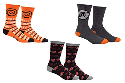 Naruto Shippuden Socks Cosplay (3 Pair) - (1 Size) Akatsuki Socks Naruto Gifts Anime Crew Socks Women & Men's