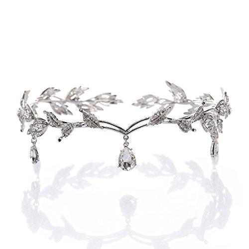 Remedios Rhinestone Leaf Wedding Crown Headband for Brides, Crystal Pendent Tiara Headband for Wedding Prom Birthday, Silver (Celtic Wedding Decorations)