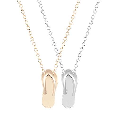 chengxun 2PCS 2016 Fashion Collane Gold Silver FlipFlop Statement Choker Collar Charm Necklace Jewelry Women (Birthstone Flip Flop Charm)