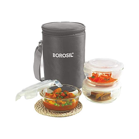 Borosil Glass Lunch Box Set of 3, 400 ml, Grey, Microwave Safe Office Tiffin