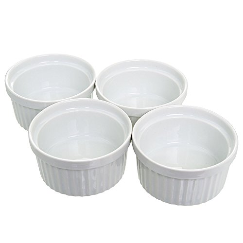 (Set of 4) 4 oz. Porcelain Ramekins, White, Bakeware, Soufflà Cups Dishes, Creme Brulee, Pudding, Custard Cups, Desserts, by California Home Goods