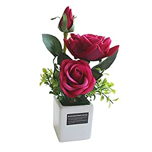 IDOMIK Artificial Flower Potted Plant, 3 Heads Rose Latex Real Touch Flower Faux Natural Silk Artificial Wedding Party Decor Home Hotel Office Garden Art Restaurants Shops Desk Décor, H:9.84inch 55