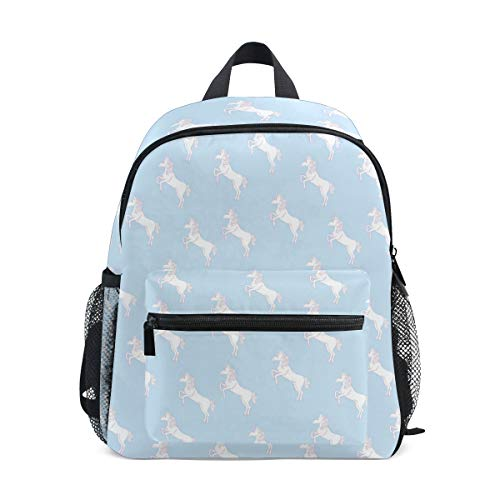 Kettle Halo (White Pentium Unicorn With Halo Stars Fashion Kids Printing bag Travel Children Backpack)