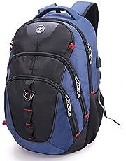 Swissdigital Backpacks 30L Business Travel Laptop-Rucksack Schultaschen mit USB Ladeanschluss/RFID-Schutz Für 15,6 Zoll Laptops, Blau