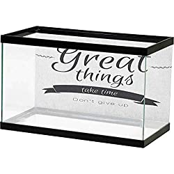 Jouiysce Fish Tank Poster Quotes,Modern Inspirational Lettering Great Thing Take Time Dont Give up Lifestyle, Black White Self-Adhesive Design