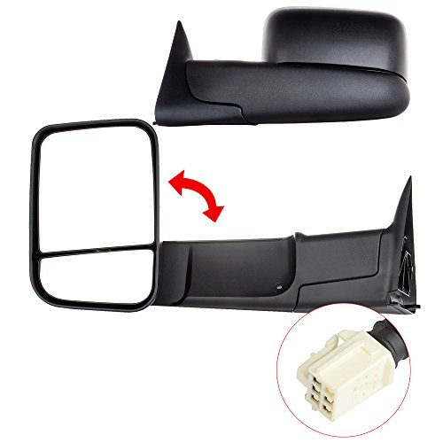 Scitoo Full Size Pickup Truck Power Heated Folding Tow Rear View Mirror Pair Set for 1998-2001 Dodge Ram 1500 1998-2002 Ram 2500 3500 New Style