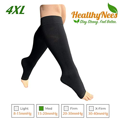 HealthyNees 15-20 mmHg Compression Med Grade Extra Wide Big Large Plus Size Calf Fatigue Leg Swelling Circulation Women Men Open Toe Sock (Black, 4XL)