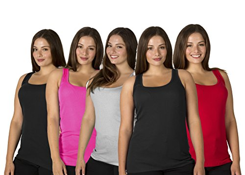 5-pack-womens-100-cotton-layering-a-shirts-full-muscle-back-plus-size-ribbed-tank-tops-assorted-colo