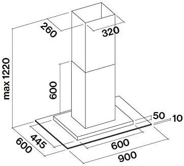 Falmec Exploit Top 800 m/³//h Cappa aspirante a isola Acciaio inossidabile