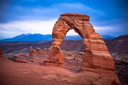 Southwest Photography Wall Art Print - Picture of Delicate Arch on Rainy Evening in Arches National Park Utah Desert Decor 5x7 to - Utah National Park Photograph