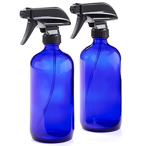 - 16oz Empty Cobalt Blue Glass Spray Bottles w/Labels and Caps- Mist & Stream Sprayer - BPA Free - Boston Round Heavy Duty Bottle - For Essential Oils, Cleaning, Kitchen, Hair, Perfumes (2 Pack)