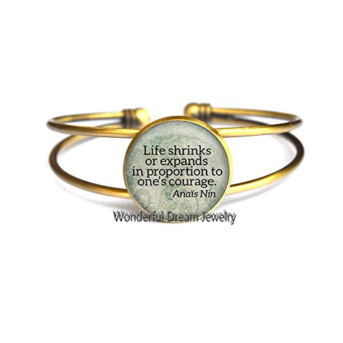 Waozshangu Life shrinks or expands in proportion Bangle,Quote Jewelry, Inspirational Bangle,Literary Quote Bracelet,PU396 (Brass) -