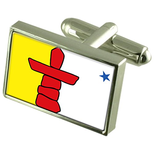 Nunavut Sterling Silver Flag Cufflinks by Select Gifts