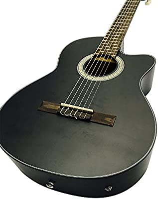Coban Guitars – Guitarra acústica clásica sólo con EQ (negro mate ...