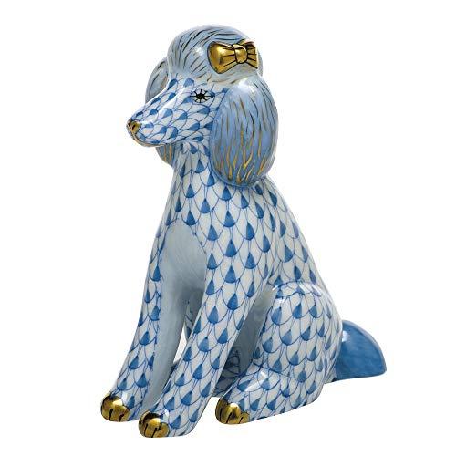 Herend Poodle Dog Porcelain Figurine Blue Fishnet