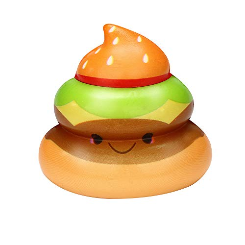 Stress Relief Toys - Kawaii Yummy Burger Poo - Cream Scented Charm Slow Rising Doll Rebound Toys - Birthday Holiday Party Favors for Kids Adults - Stress Ball (B) -