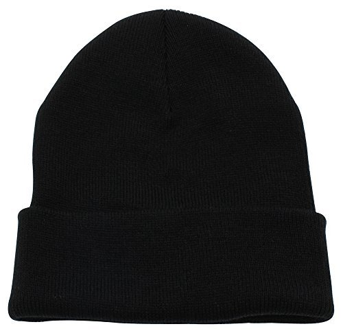 CUFFED PLAIN SKULL BEANIE HAT / CAP | Winter Unisex Knit Hat Toboggan For Men & Women | Unique & Timeless Clothing Accessories By Top Leve, Black