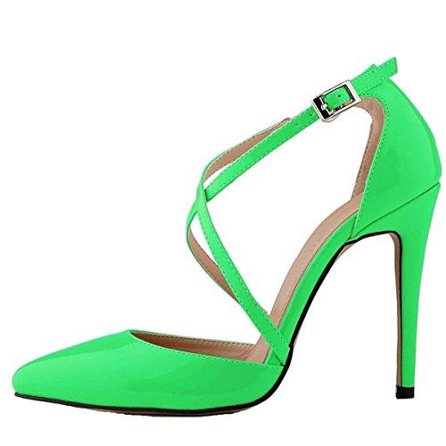 Win8Fong - Sandalias de vestir para mujer Verde - verde