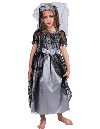 Make A Zombie Bride Costume (FantastCostumes Girl's Ghostly Bride Costume(Black Grey, Medium))