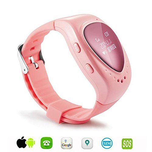 Dreamclub Spy GPS GSM Bracelet Watch Tracker For Kids With SOS Alarm Support Android & IOS SIM Card Wristwatch (Pink) ()
