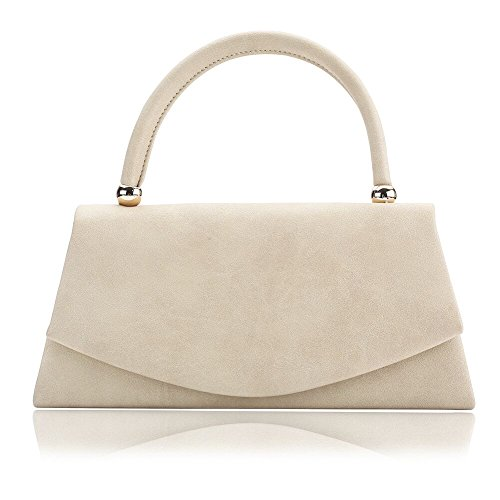 Beige Classic Flap (Women's Classic Envelope Evening Bag, WALLYN'S Wedding Prom Party Clutch Suede Velvet Handbag Purse (Beige))