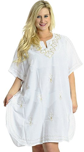 Rayon Embroidered Beach Wear Bikini Swimwear Swimsuit Kimono Caftan Dress White
