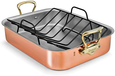 Mauviel Copper Roasting Pan with Rack Bronze Handles