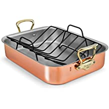Mauviel Copper Roasting Pan with Rack (Bronze Handles)
