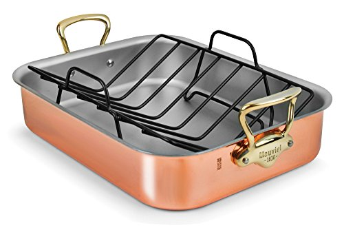 Mauviel Copper Roasting Pan with Rack (Bronze Handles) -