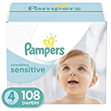 Diapers Size 4 (108 Count)- Pampers Swaddlers Sensitive Disposable Baby Diapers, Super Economy
