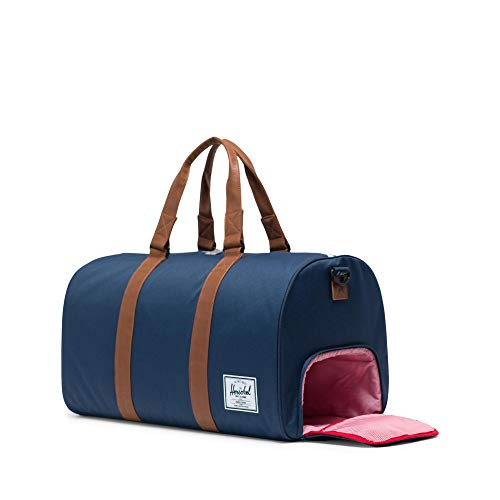 Herschel Novel Duffel Bag, Navy/Tan Synthetic Leather, Classic 42.5L