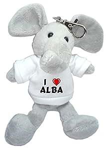 Elefante de peluche (llavero) con Amo Alba en la camiseta (nombre de pila/apellido/apodo)