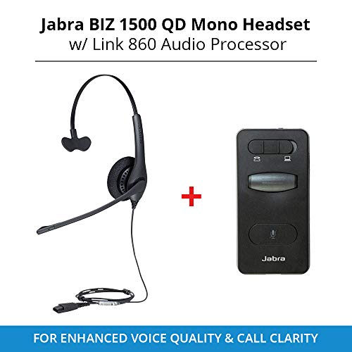 Jabra Biz 1500 QD Mono Headset with Link 860 Audio Processor for Enhanced Voice Quality & Call Clarity