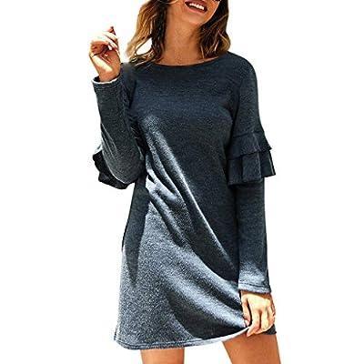 Womens Fashion Casual Solid Ladies O-Neck Long Sleeves Ruffled Mini Dress