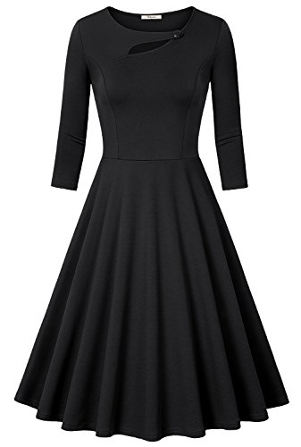 A Line dress,Bebonnie Women 3/4 Long Sleeve Vintage to The Knee Little Black Dress XL