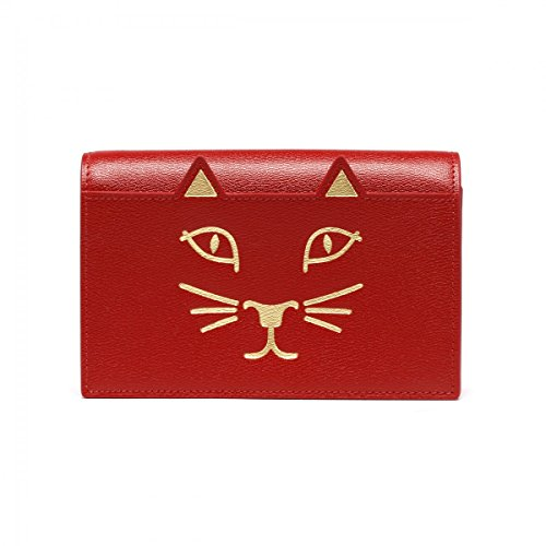 CHARLOTTE OLYMPIA WOMEN'S L001010600 RED LEATHER CLUTCH
