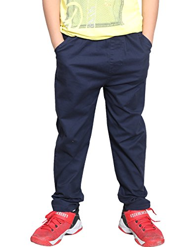 - WIYOSHY Boys'Solid Color Pull On Elastic Waist Chino Cotton Pants 805113 (Navy, 130 (Size 8))