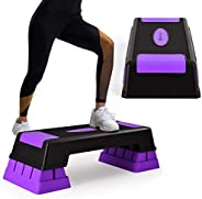 """Goplus 30'' Aerobic Stepper with Risers, 5"""" 7"""" 9"""" Levels Height Adjustable, Workout Fitness Exercise S"""