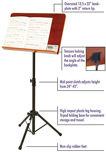 On-Stage SM7312W Conductor Stand with Wide Wooden Bookplate