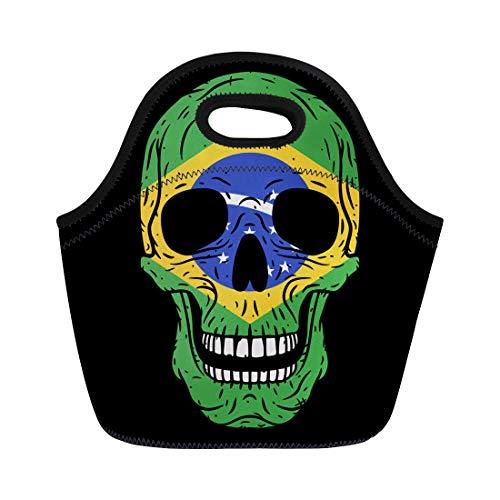 (Semtomn Neoprene Lunch Tote Bag Bone Human Skull Brazilian Flag Brazil Brutal Cartoon Country Reusable Cooler Bags Insulated Thermal Picnic Handbag for Travel,School,Outdoors, Work)