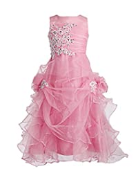 Fashion Plaza Girl's Ruffled Applique Flower Girl Communion Pageant Dress K0073