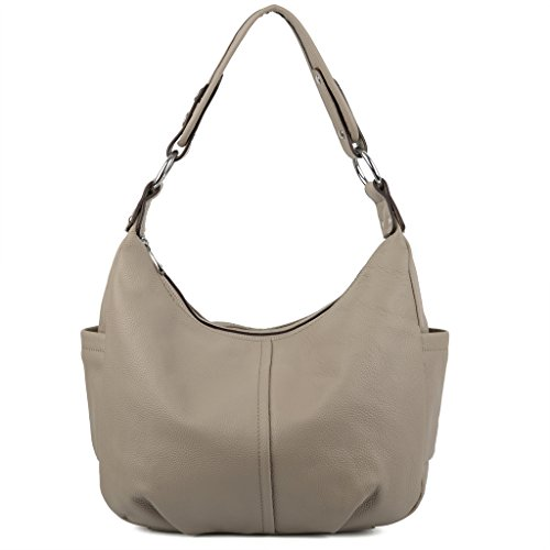 Double Handbag Shoulder (YALUXE Women's Double Zipper Soft Hobo Style Cowhide Leather Purse Shoulder Bag Grey)