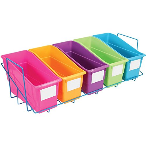 Really Good Stuff Magazine File and Folder Holder & Rack - 5 Neon Colors