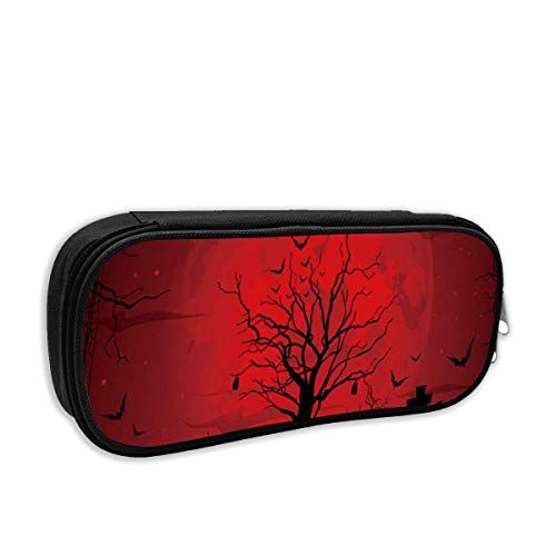 Gothic Scary Halloween Dark Red Night Cosmetic Makeup Bag Students Pen/Pencil Case Pouch Pencil -